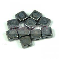 Flat Silky gyöngy - hematit - 6x6mm