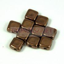 Flat Silky gyöngy - bronze - 6x6mm - 100db