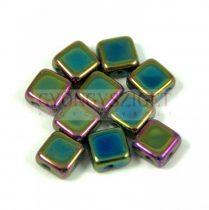 Flat Silky gyöngy - metallic green iris - 6x6mm - 100db