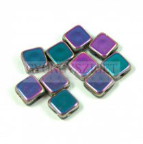 Flat Silky gyöngy - jet vitral medium full luster - 6x6mm