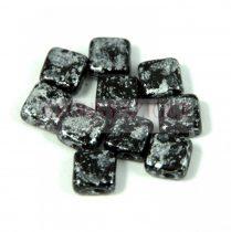Flat Silky gyöngy - tweedy black - 6x6mm