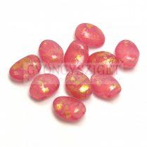 Tulip Petal - Czech Glass Bead 6x8mm - Crystal Opal Pink Gold Patina