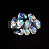 Préselt virágszirom gyöngy - Tulip Petal - 4x6mm - crystal ab