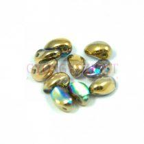 Préselt virágszirom gyöngy - Tulip Petal - 4x6mm - crystal golden rainbow