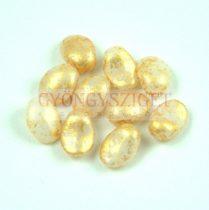 Préselt virágszirom gyöngy - Tulip Petal - 8x6mm - Alabaster Gold Patina