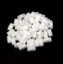 Miyuki Half Tila 2 Hole Japanese Seed Bead -420 Ceylon White 2 5x5mm