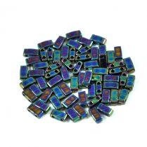 Miyuki Half Tila 2 Hole Japanese Seed Bead -455 Metallic Green Iris 2 5x5mm