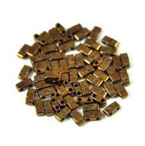 Miyuki Half Tila 2 Hole Japanese Seed Bead -457b Metallic Dark Raspberry Iris (Bronze) 2 5x5mm
