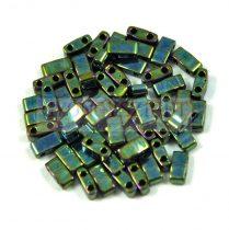 Miyuki féltila gyöngy - 468 - Gold Lustered Metallic Green Iris - 2.5x5mm -10g - AKCIOS