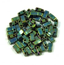 Miyuki féltila gyöngy - 468 - Gold Lustered Metallic Green Iris - 2.5x5mm