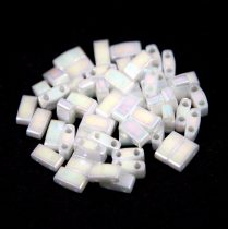 Miyuki Half Tila 2 Hole Japanese Seed Bead -471 Pearl Lustered White AB 2 5x5mm