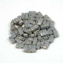 Miyuki Half Tila 2 Hole Japanese Seed Bead -1865 Lustered Gray 2 5x5mm 10g