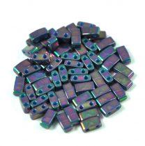 Miyuki Half Tila 2 Hole Japanese Seed Bead -1898 Opaque Purple Gray Rainbow Luster 2 5x5mm
