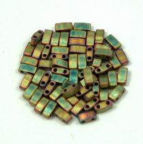 Miyuki Half Tila 2 Hole Japanese Seed Bead -2035 Matte Metallic Khaki Iris 2 5x5mm