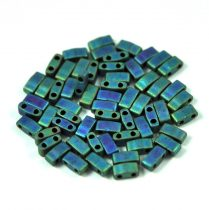 Miyuki Half Tila 2 Hole Japanese Seed Bead -2064 Matte Metallic Blue Green Iris 2 5x5mm