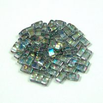 Miyuki Half Tila 2 Hole Japanese Seed Bead -2440d Rainbow Lustered Transparent Dark Gray 2 5x5mm