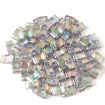Miyuki Fél Tila japán üveggyöngy - 2440d - rainbow lustered transparent dark grey - size: 2.5x5mm - 50g