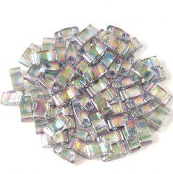 Miyuki féltila gyöngy - 2440d - szivárvány lüszteres transzparens sötét szükre - 2.5x5mm