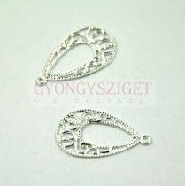Fülbevaló alap - körte formájú - ezüst színű - 14x24mm