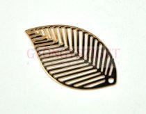 Fülbevaló alap - levél formájú - arany színű - 16x29mm