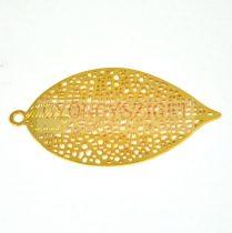 Fülbevaló alap - levél formájú - arany színű - 50x27 mm