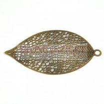 Fülbevaló alap - levél formájú - sárgaréz színű - 50x27 mm