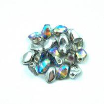 Gekko - Czech Pressed Petal Bead - Crystal Silver Rainbow - 3x5mm