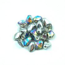 Gekko - cseh préselt szirom gyöngy - Crystal Silver Rainbow - 3x5mm
