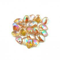 Gekko - Czech Pressed Petal Bead - Crystal Brown Rainbow - 3x5mm