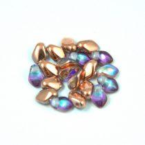Gekko - cseh préselt szirom gyöngy - Crystal Copper Rainbow - 3x5mm