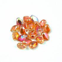 Gekko - cseh préselt szirom gyöngy - Crystal Orange Rainbow - 3x5mm