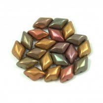 Gemduo cseh préselt üveggyöngy - matte metallic bronze iris - 5x8 mm