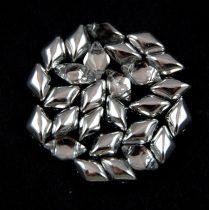 Gemduo cseh préselt üveggyöngy - Crystal Silver - 5x8 mm