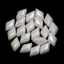 Gemduo cseh préselt üveggyöngy - white luster - 5x8 mm