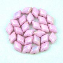Gemduo cseh préselt üveggyöngy - White Pink Luster - 5x8 mm