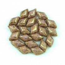 Gemduo cseh préselt üveggyöngy - White Purple Bronze Luster - 5x8 mm
