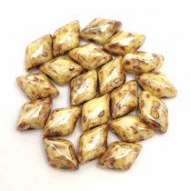 Gemduo cseh préselt üveggyöngy - white picasso luster - 5x8 mm
