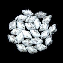 Gemduo cseh préselt üveggyöngy - White Silver Patina - 5x8 mm