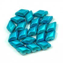Gemduo cseh préselt üveggyöngy - metalust turquoise - 5x8 mm
