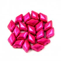 Gemduo cseh préselt üveggyöngy - metalust hot pink - 5x8 mm