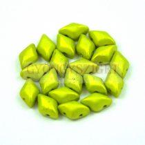 Gemduo cseh préselt üveggyöngy - Metalust Electric Green Mat - 5x8 mm