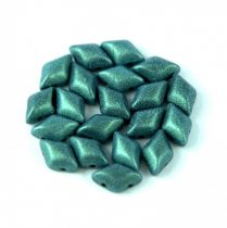 Gemduo cseh préselt üveggyöngy - matte metallic green - 5x8 mm
