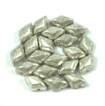 Gemduo cseh préselt üveggyöngy - antique silver - 5x8 mm