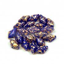 Gemduo cseh préselt üveggyöngy - Sapphire Gold Patina - 5x8 mm