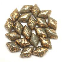 Gemduo cseh préselt üveggyöngy - Gray Gold Patina - 5x8 mm