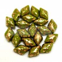 Gemduo cseh préselt üveggyöngy - Green Gold Luster - 5x8 mm