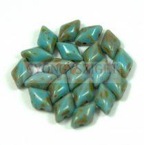 Gemduo cseh préselt üveggyöngy - Turquoise Blue Picasso  - 5x8 mm