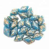 Gemduo cseh préselt üveggyöngy - Turquoise Blue Gold Luster - 5x8 mm