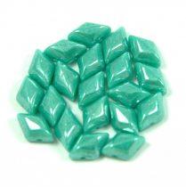 Gemduo cseh préselt üveggyöngy - turquoise green luster - 5x8 mm