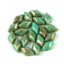 Gemduo cseh préselt üveggyöngy - turquoise green picasso - 5x8 mm